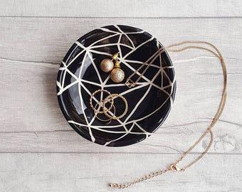 Jewellery Dish, Condiment Dish, Tea Light Holder Homeware Gifts, Monochrome Home Accessories, Black and White Décor, Handmade Ceramics