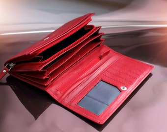 Red leather wallet Womens leather wallet Leather bifold wallet Leather purse wallet Red leather clutch Leather clutch wallet Card wallet