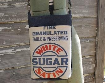 Vintage White Satin Sugar Sack Shoulder Bag | Flour Sack | Feedsack | Cross Body | Repurposed | Upcycled | Tote | Purse | Grainsack