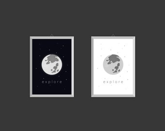 Explore - Printable Sky and Moon Wall art/Poster (instant download)