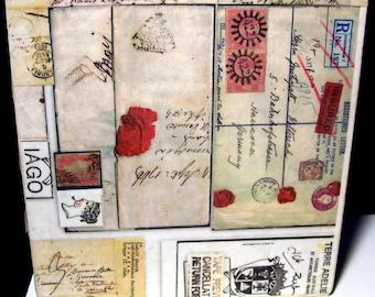 OOAK refurbished cigar box handmade collage designs inside & out 6 3/4 x 6 3/4