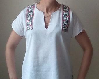 White linen shirt, Asymmertic shirt, Loose fit shirt, Embroidered shirt, Folklore, Short sleeve shirt, Boho shirt, Summer top
