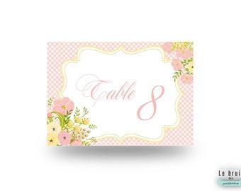 Nom de table shabby thème fleurs