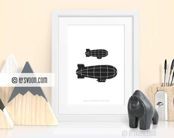 Zeppelins Print, Wall Art Printable, Aviation Poster, Black & White, Airship, Wall Decor, Kids, Nursery, Home, Wall Art, Digital Download