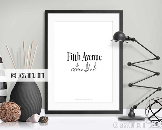 Fifth Avenue Print 5th NY Typography Poster New