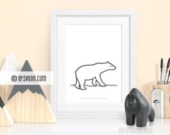 Polar Bear Print, Wall Art Printable, Animal Poster, Black & White, White Bear, Ice Bear, Arctic Bear, Wall Decor Nursery, Digital Download