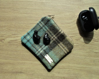 Abraham Moon tweed gadget bag -  ****EARPHONES NOT INCLUDED*****   gift for him, Liberty lining, 7th anniversary, wool anniversary