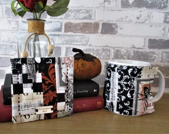 Mug cosy and coaster gift set - gift for him, cotton gift, steampunk gift, Father's Day gift