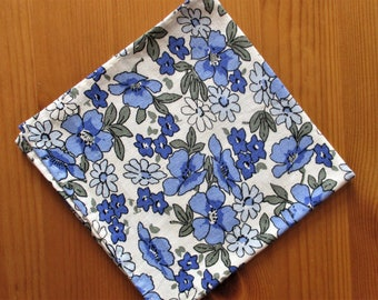 handmade Blue and Ivory linen pocket square - blue floral pocket square, gift for him, something blue, linen anniversary, 4th anniversary