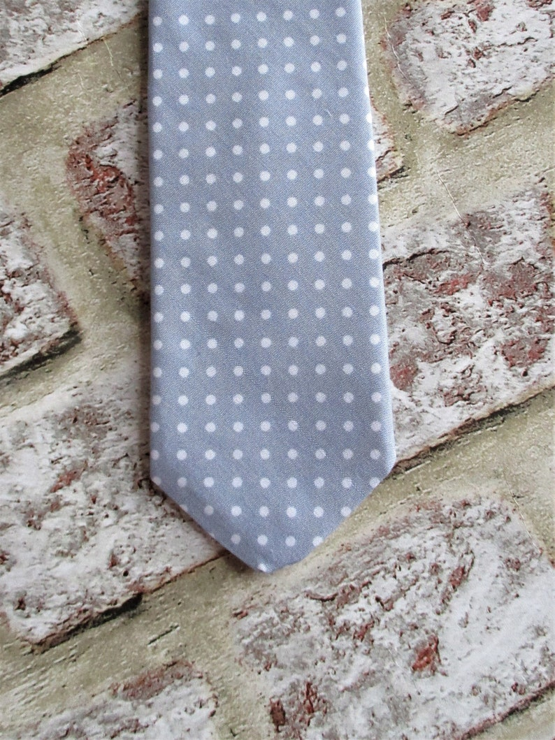 Grey cotton polka dot tie  hand sewn.  Men's accessories image 0