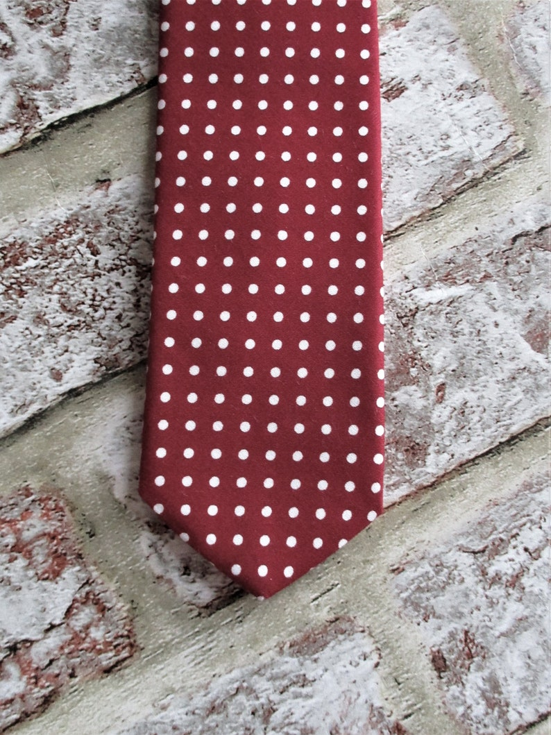 Wine red cotton polka dot tie  hand made mens wear mens image 0