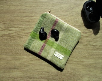 Abraham Moon tweed gadget bag - Liberty lining - ***EARPHONES NOT INCLUDED***  gift for him, wool anniversary, 7th anniversary