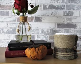 Abraham Moon and Liberty mug cosy - gift for him, tweed gift, wool anniversary, cotton anniversary