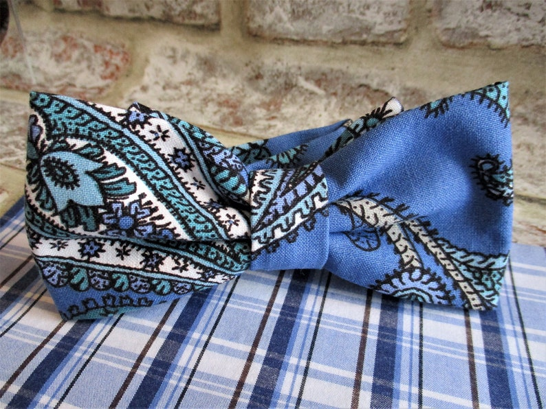 Handmade vintage fabric bow tie and pocket square  image 0