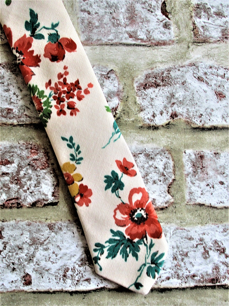 Handmade vintage cotton fabric tie  orange/yellow floral. image 0