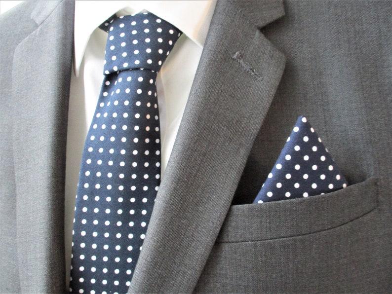 Navy cotton polka dot pocket square  hand sewn flat hem image 0