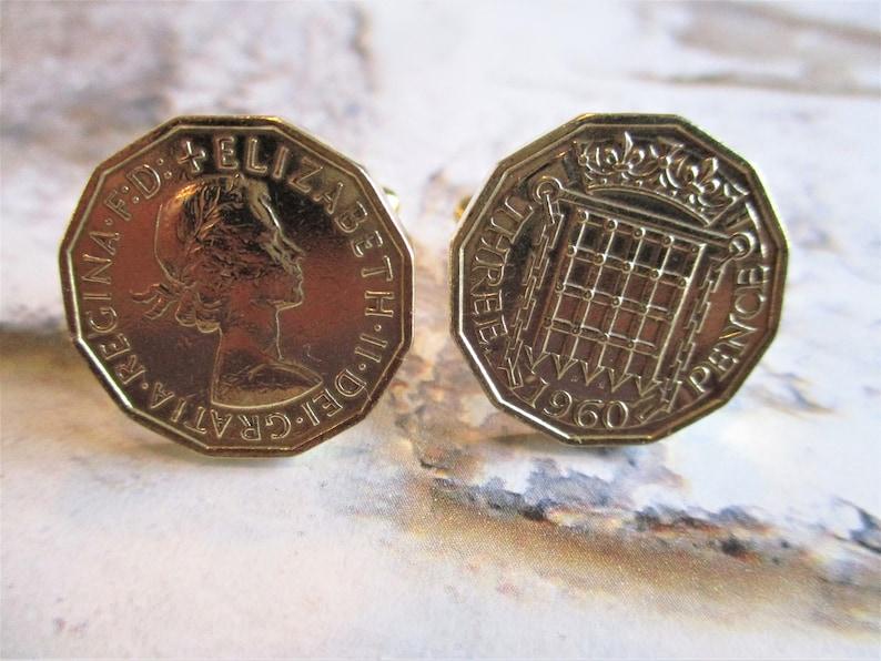1960 Brass three pence cufflinks  handmade vintage coins image 0