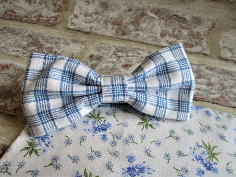 Vintage French cotton bow tie and pocket square  sustainable image 0