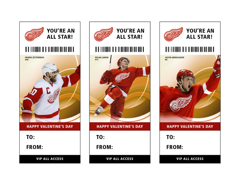 photograph relating to Detroit Red Wings Printable Schedule referred to as Detroit Purple Wings Hockey Valentines Working day Card Ticket Printable Prompt Obtain