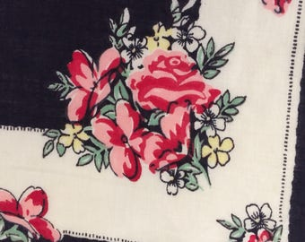 Vintage Handkerchief  / Navy With Red Roses