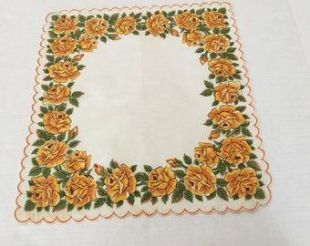 Vintage Handkerchief / Yellow Autumn Roses