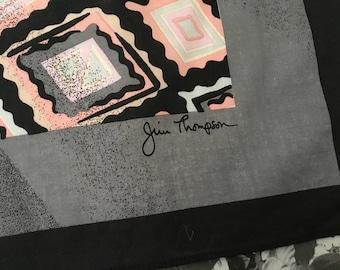 Vintage Thai Silk Scarf / Jim Thompson Geometric