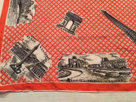Vintage Silk Scarf  / Paris Souvenir / Paris Monu… - image 7