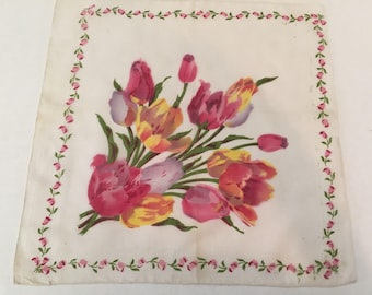 Vintage Handkerchief  / Tulip Bouquet