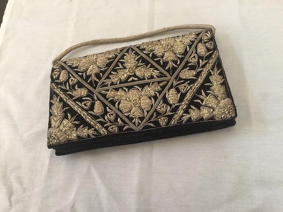 Vintage Velvet Clutch Bag / Indian Zardosi Embroid