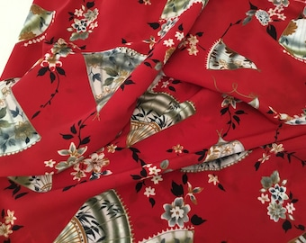 Vintage Fabric / Bright Red with Fans