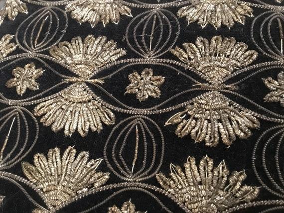 Vintage Velvet Clutch Bag and Belt / Indian Zardos