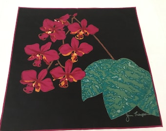 Vintage Thai Silk Scarf / Jim Thompson Orchids
