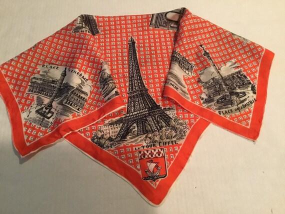 Vintage Silk Scarf  / Paris Souvenir / Paris Monu… - image 2