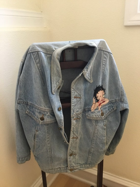 Vintage Denim Jacket / Betty Boop and Pudgy / Hand