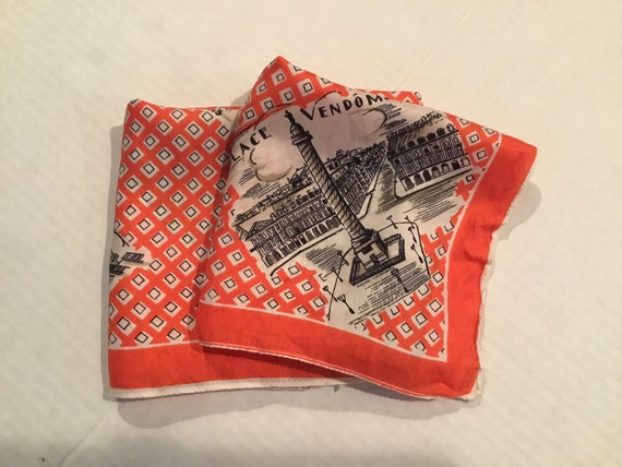 Vintage Silk Scarf  / Paris Souvenir / Paris Monu… - image 3