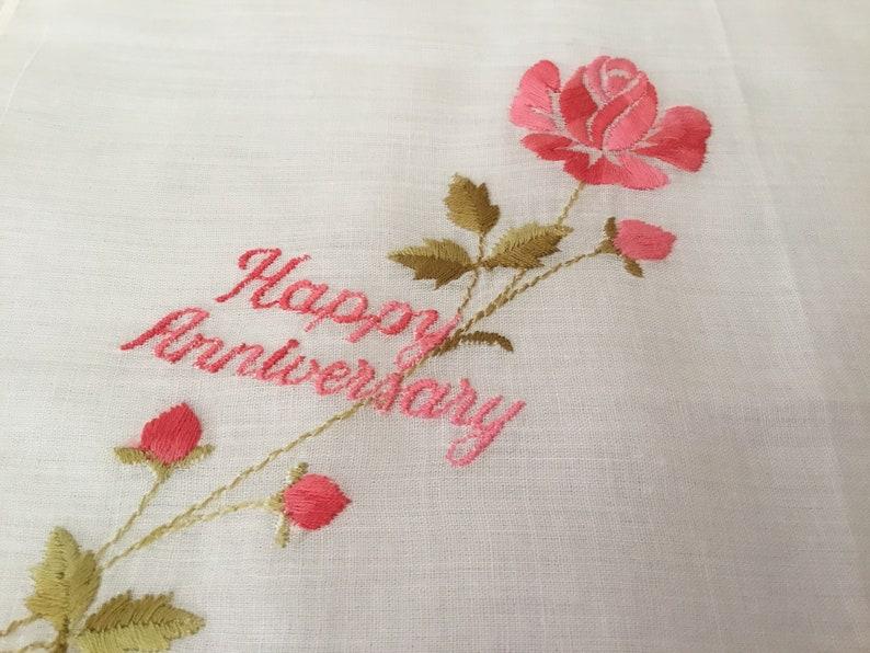 Vintage Handkerchief  Happy Anniversary