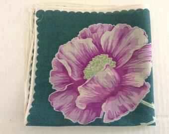 Vintage Handkerchief / Purple Poppy