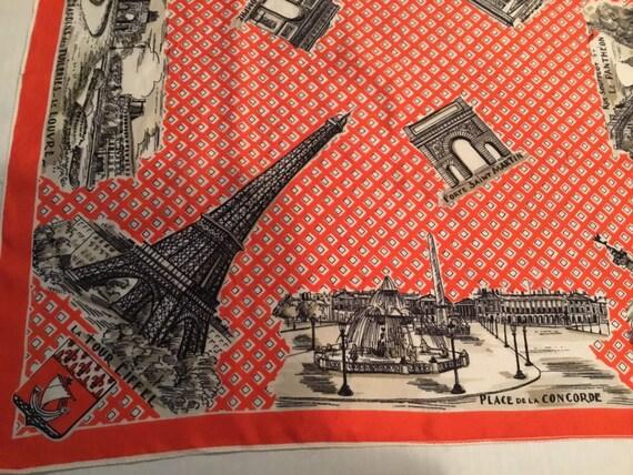 Vintage Silk Scarf  / Paris Souvenir / Paris Monu… - image 4