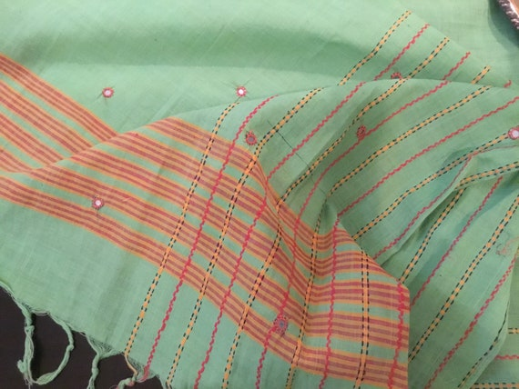Vintage Cotton Indian Shawl / Wrap / Tablecloth /