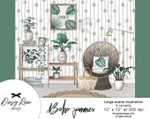 Boho style Scene Room illustration Watercolor clipart Digital bohemian wicker chair Summer Commercial use Hand painted Sticker graphics diy