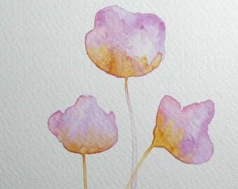ORIGINAL watercolor, Flowers watercolor, Purple flower artwork, Purple watercolor, Floral decor, Abstract watercolor