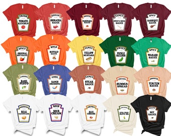 Group Condiments Shirts   Matching Condiment Halloween Costume Party Shirt   Friends Teachers Kids Tshirt   Adults Youth Ketchup Ranch Tee