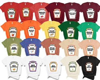 Group Condiments Shirts | Matching Condiment Halloween Costume Party Shirt | Friends Teachers Kids Tshirt | Adults Youth Ketchup Ranch Tee