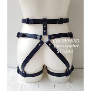 BDSM-gear waist accessories handmade harness,cage harness strappy harness leather straps Leather garter belt black harness leg garter