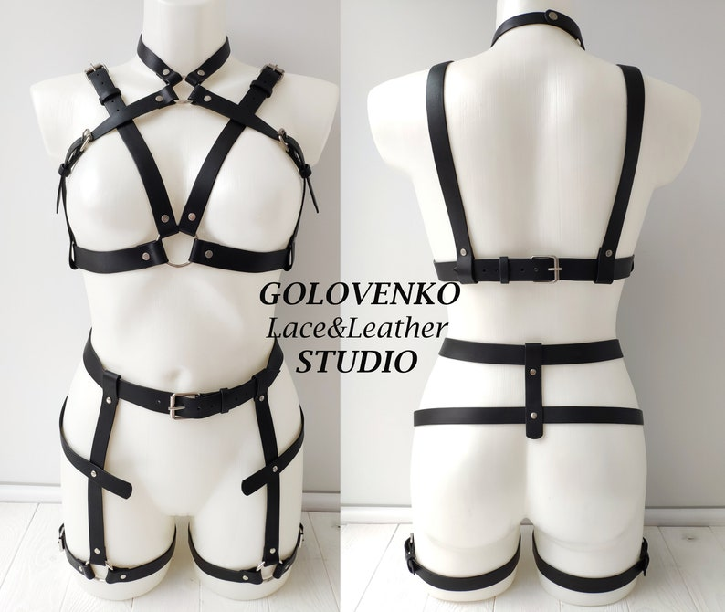 c2d217db0d6 Women leather harness set full body set genuine leather