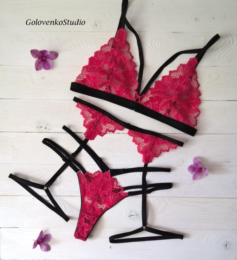 651031125b5 Pink lingerie set pink garter belt lingerie sexy pink bra