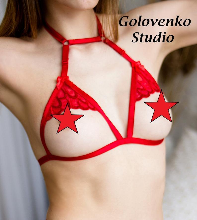 955fb5bc414 Red harness bra cage bra strappy bra bondage straps bdsm