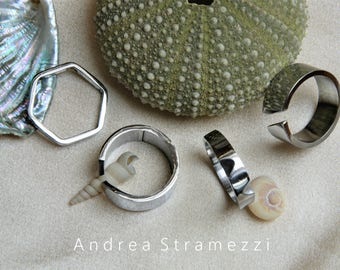 Handcrafted rings, bands, headband, unisex, steel
