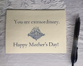You Are Extraordinary Mother's Day Letterpress Card - Encouragement, Appreciation, Greeting Card