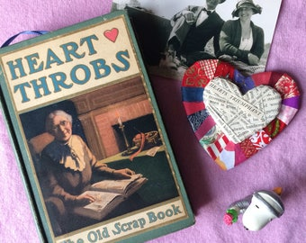 Heart Throbs (1905) - Handstitched Upcycled Journal / Vintage Notebook / Scrapbook / Gift Idea / Old Book Memory Book